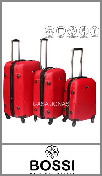 Set de 3 valijas Bossi ABS rígidas con 4 ruedas 360°