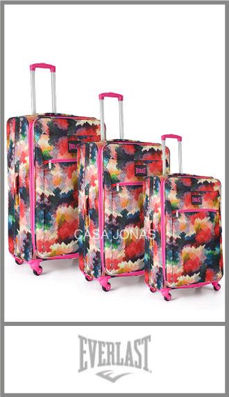Set de 3 valijas Everlast estmapadas con ruedas 360º y fuelle