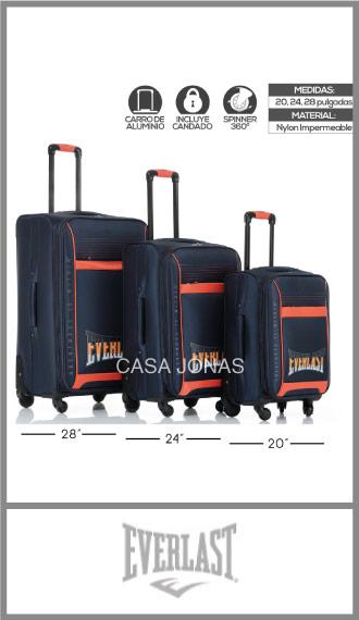 Set de 3 valijas Everlast Pro Ruedas 360º