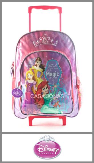 Mochila infantil con carro Princesas Disney Grande 29cm x 45cm x 15cm