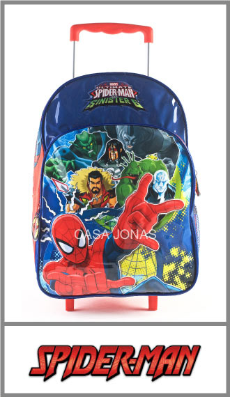 Mochila infantil con carro Grande Spiderman Marvel 29cm x 45cm x 15cm